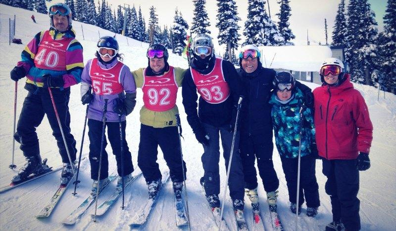 Volunteers & coaches support Whistler Adaptive athletes before the race